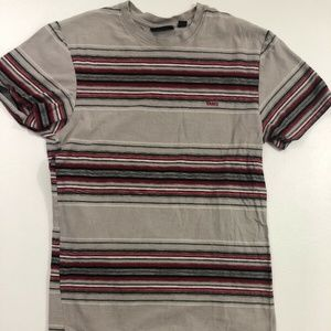Vans Men's T Shirt Striped Gray Red Sz Medium